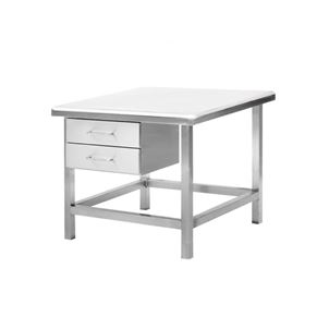 Stainless Steel Square Table with Drawers